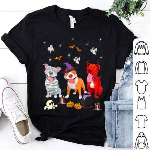Funny Three Pitbulls Funny Halloween gift For Women shirt