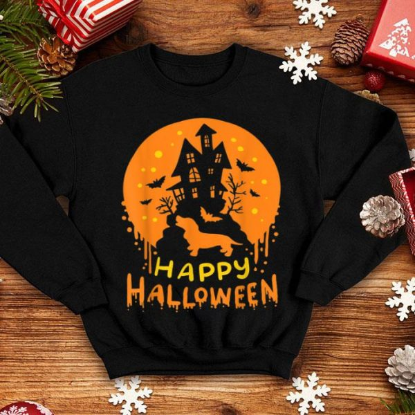 Nice Happy Halloween Dachshund Wiener Dog Bat Ghost Castle shirt
