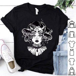 Nice Horned Devil Girl - Satanic Halloween Glitch Goth Tee shirt