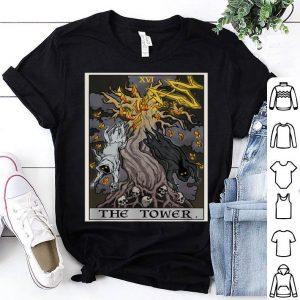 Original The Tower Tarot Card Halloween Tree of Life Goth Witch Gift shirt