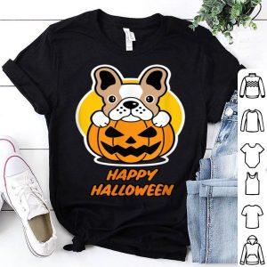 Premium Halloween Dog with a Dog sitting on a Pumpkin shirt