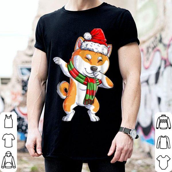 Awesome Dabbing Shiba Inu Santa Christmas Kids Boys Gifts shirt