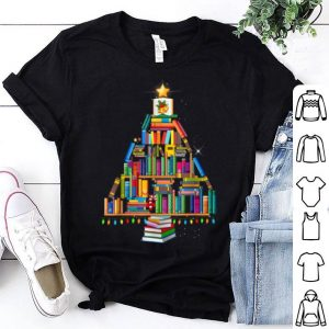 Awesome Merry Christmas Library Tree Gift For Book Lover Librarian shirt