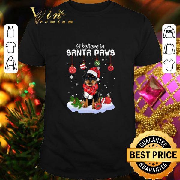 Cheap Rottweiler i believe in Santa paws Christmas shirt