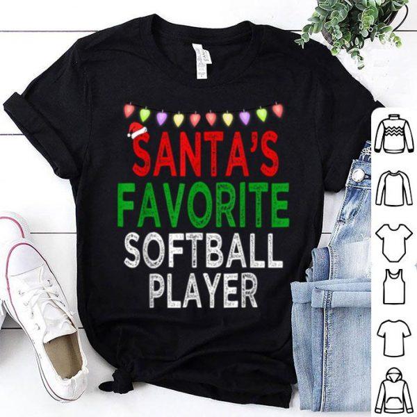 Hot Santa's Favorite Softball Player Christmas Xmas Lights Hat shirt