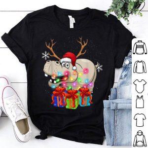 Nice Hippo Christmas Gift Xmas Lights Santa Hat Party shirt