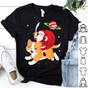 Nice Santa Claus With Sword & Xmas Gift Riding Cat On Space Snow shirt