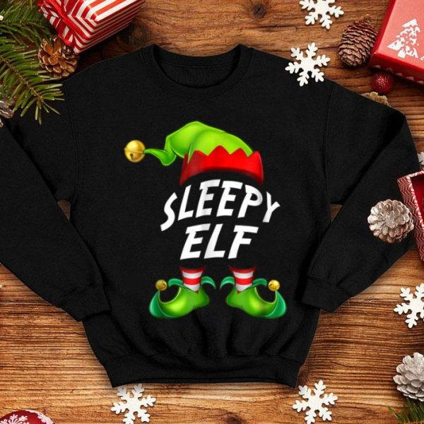 Official Christmas Funny Sleepy Elf Gift Family Matching Tee sweater