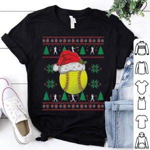 Original Ugly Christmas Softball Girls Kids Ball Santa Pajama shirt