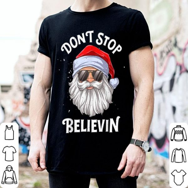 Premium Don't Stop Believin Santa Funny Christmas Boys Kids Gifts sweater