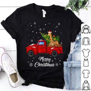 Premium Giraffe Rides Red Truck Christmas Pajama Gift shirt