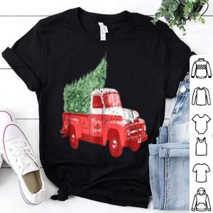 Premium Merry Christmas With Old Truck and Tree Vintage Style shirt
