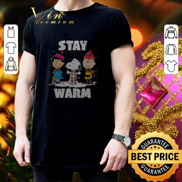 Premium Stay Warm Peanuts characters Christmas shirt