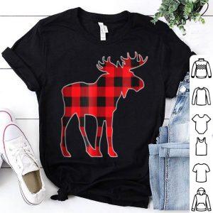 Pretty Red Moose Christmas Matching Buffalo Plaid Pajama shirt