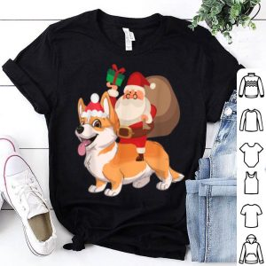 Top Santa Riding Welsh Corgi Christmas Pajama Gift shirt