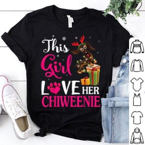 Top Snow & Xmas Gifts This Girl Love Her Chiweenie Reindeer Hat shirt