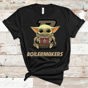 Awesome Football Baby Yoda Hug Boilermakers shirt