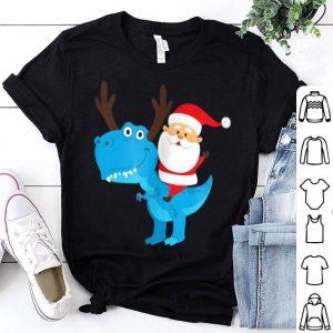 Beautiful Santa Riding a T-Rex Dinosaur Christmas Pajama sweater