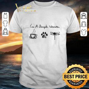 Funny I'm a simple woman i like coffee dog paw dragonfly shirt
