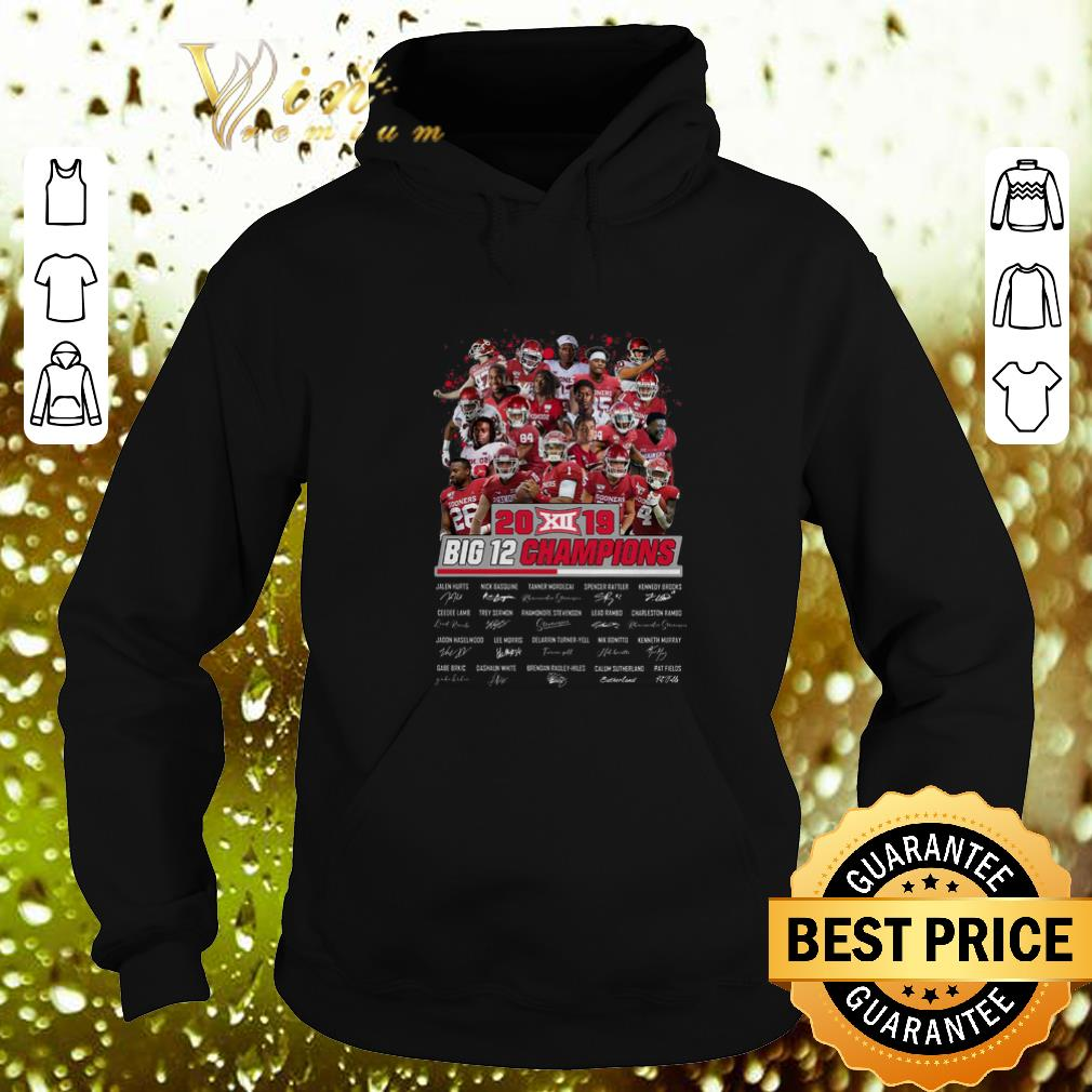 Funny Oklahoma Sooners 2019 Big 12 Champions all signature shirt 4 - Funny Oklahoma Sooners 2019 Big 12 Champions all signature shirt
