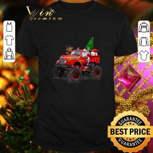 Funny Santa And Reindeer On Monster Truck Christmas Tree shirt