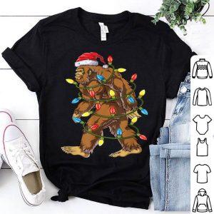 Official Bigfoot Santa Christmas Tree Lights Xmas Boys Men Sasquatch sweater