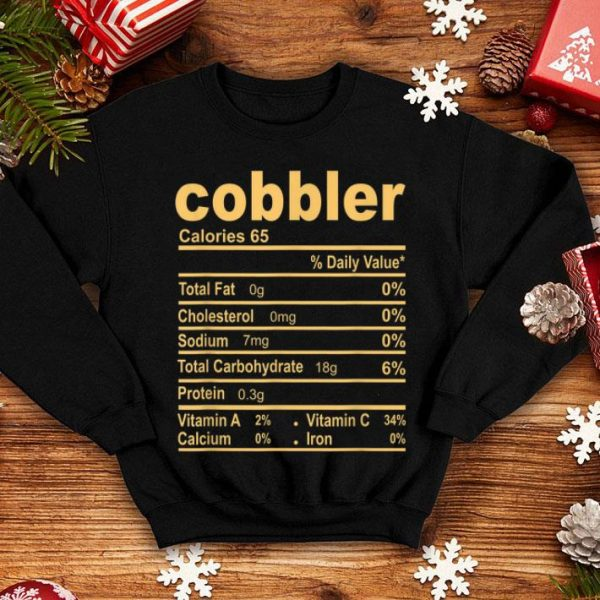 Official Funny Cobbler Nutrition Facts Thanksgiving Christmas Food sweater