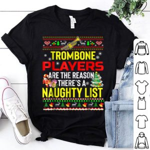 Official Naughty List Trombone Player Ugly Christmas sweater