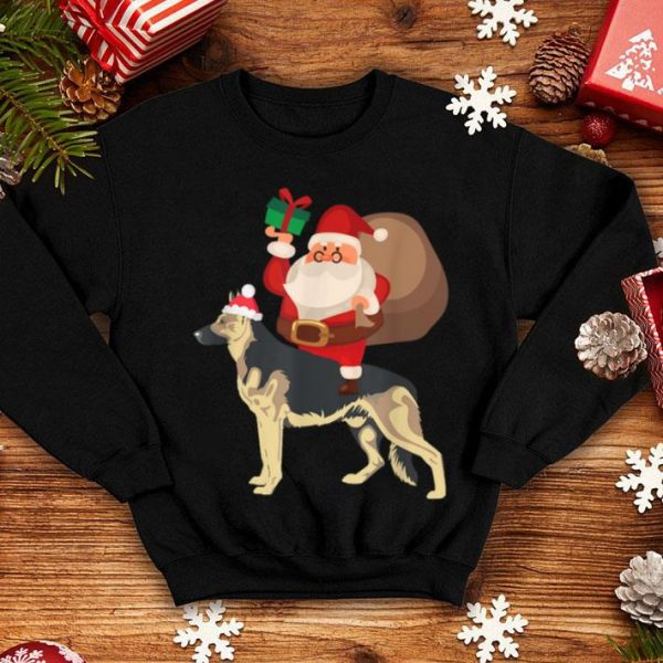 Premium Santa Riding German Shepherd Christmas Pajama Gift sweater