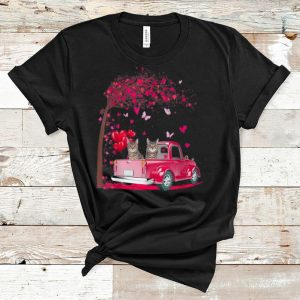 Premium Cat Pink Truck Heart Tree Valentine's Day Cat Lovers shirt