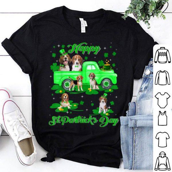 Nice Leprechaun Beagle Riding Green Truck St Patrick's Day Gifts shirt