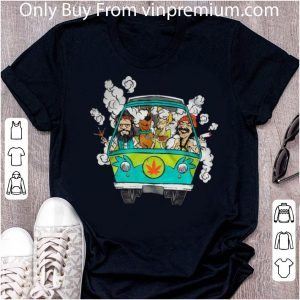 Great Hippie Car Cannabis Scooby Doo And Hippie Old Man Smoking Weed shirt