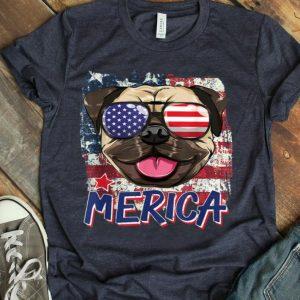 American Flag Pug Dog Merica American Sunglasses 4th Of July Shirt