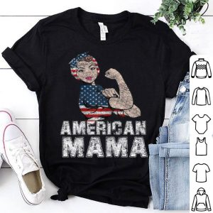 American Mama Vintage Mother With USA Flag for 4th Of July shirt
