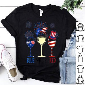 Blue White Red Wine Glasses Firework 4th Of July shirt