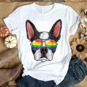Boston Terrier Gay Pride Flag Sunglasses Lgbt Puppy Shirt
