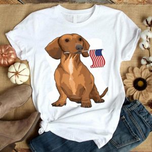 Dachshund Holding American Flag Dog Lover 4th Of July Shirt