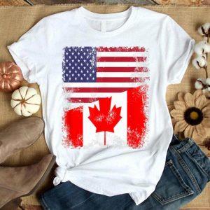 Half Canadian Flag American Flag Canada USA Day Shirt
