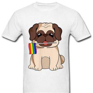 LGBT Pride Cute Pug Dog With Rainbow Flag Gay Lesbian Love Shirt