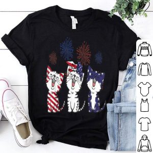 Red White Blue Cats Usa Flag Firework 4th Of July Shirt