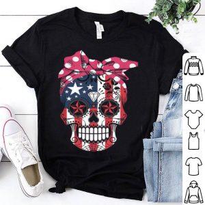 Sugar Skull American Flag Wear Red Bandana Bow Ribbon shirt