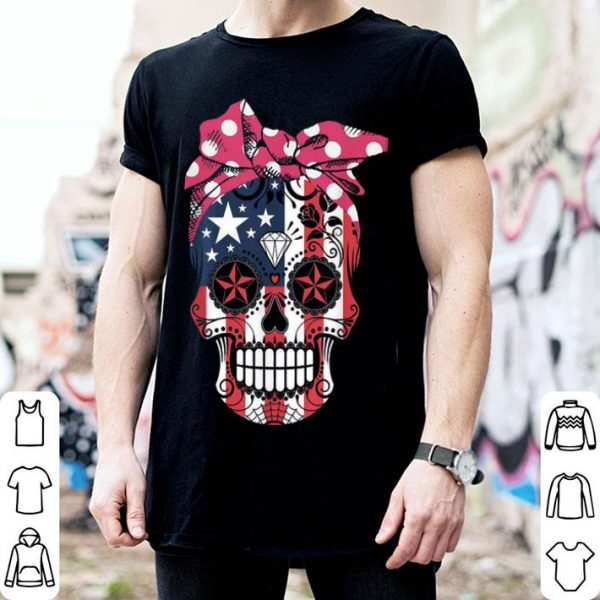 Sugar Skull American Flag Wear Red Bandana Bow Ribbon shirt