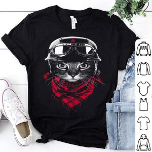 Adventurer Cat Graphic Black Pilot Cat With Red Scarf shirt