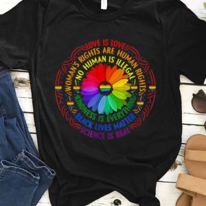 Black Lives Matter Science Love Is Love LGBT Pride Flower shirt