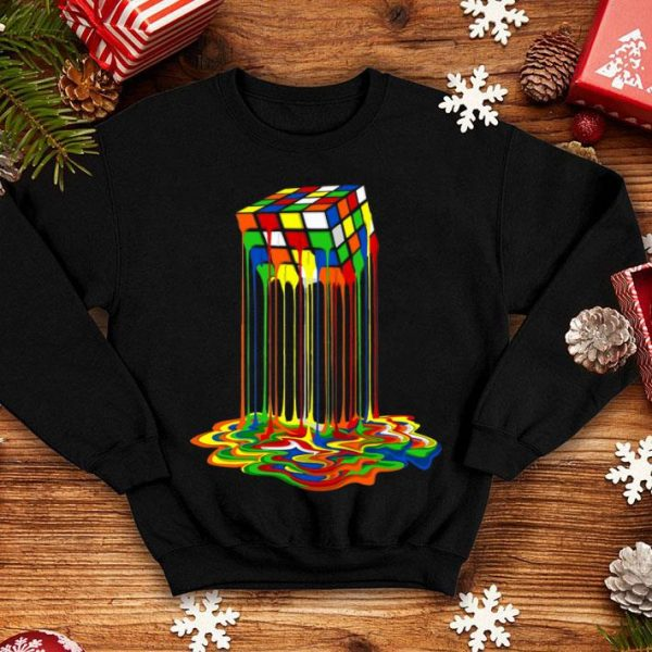 Rainbow Abstraction Melted Rubiks Cube Colorful Cube shirt