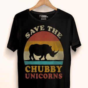 Retro Vintage Sunset Save The Chubby Unicorns Fat Rhino shirt