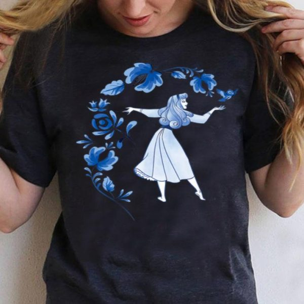 Sleeping Beauty Princess Aurora Blue Flowers Disney shirt