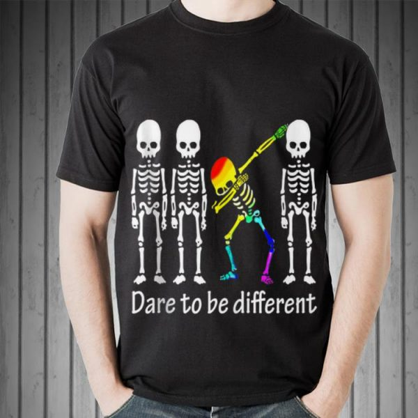 Awesome Dare To Be Different Skull Skeleton LGBT Dabbing shirt
