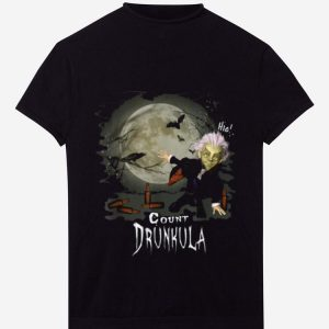 Hot Cute Count Drunkula With Beer Bird Bats Moon Funny Halloween shirt