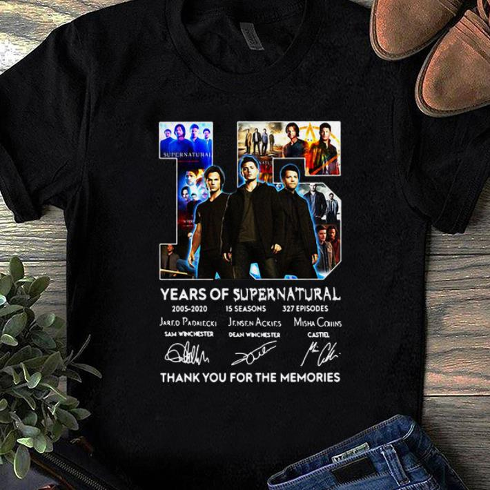 Nice 15 Years Of Supernatural Thank For The Memories Signature shirt 1 - Nice 15 Years Of Supernatural Thank For The Memories Signature shirt